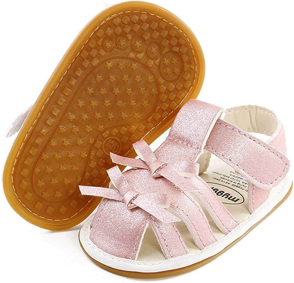 SOFMUO Baby Girls Boys Sparkly Bowknot Sandals Premium Soft Anti-Slip Rubber Sole Infant Summer Outdoor Shoes Toddler First Walkers
