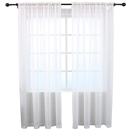 504fd8d3a9c5 Amazon.com  KEQIAOSUOCAI Sheer Curtains Inherent Flame Retardant Window  Sheer Curtain Panels for Bedroom Living Room  Hotel