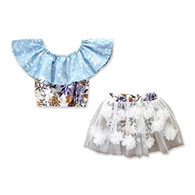 cb6f93ad6 Amazon.com: Newborn Girl Clothes 2Pcs Crop Tops T-Shirt +Tulle Skirt Lace  Bodysuit Baby Girl Outfits Summer Clothes: Clothing
