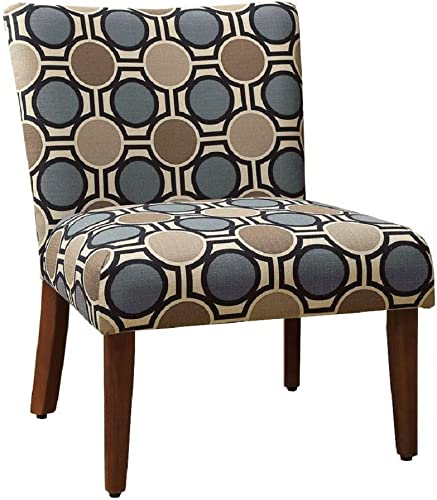 HomePop Large Parsons Upholstered Accent Chair, Blue and Brown Abstract