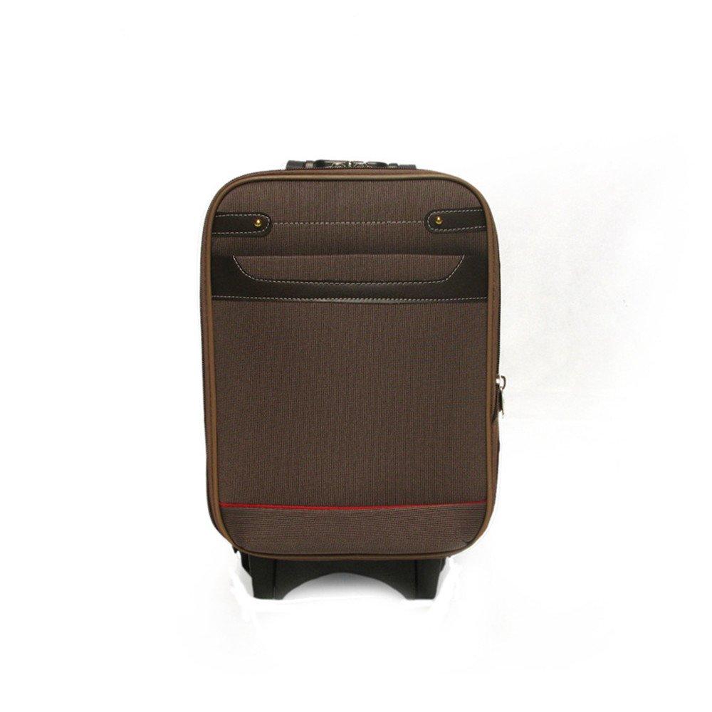 旅行用品荷物スーツケーストロリーケース プレミアム回転16インチキャンバスプルボックスクラシックソフトボックスジッパースーツケースレジャートランク耐摩耗性シャーシ。 (色 : 褐色) B07SLPNDJW 褐色