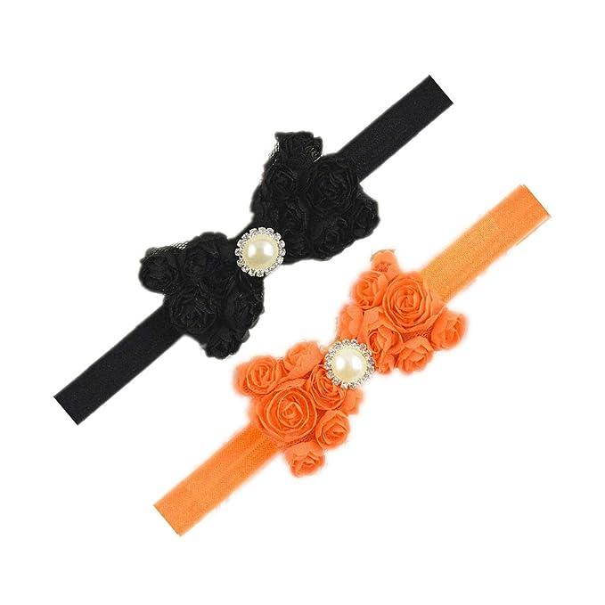 Amazon.com: Diademas de encaje para niñas con lazos de rosas ...