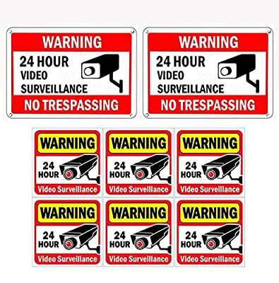 "WISLIFE Video Surveillance Sign Set, 2 (10"" X 7"") Aluminum Warning Signs & 6 (6""X6"") Window Stickers, Video Security Signs"