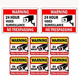 WISLIFE Video Surveillance Sign Set, 2 (10'' X 7'') Aluminum Warning Signs & 6 (6''X6'') Window Stickers, Video Security Signs