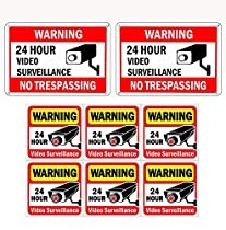 """WISLIFE Video Surveillance Sign Set, 2 (10"""" X 7"""") Aluminum Warning Signs & 6 (6""""X6"""") Window Stickers, Video Security Signs"""