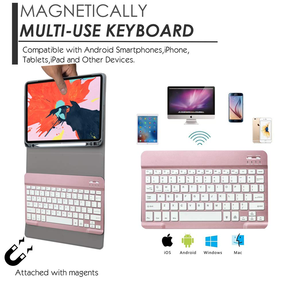 Amazon.com: Eoso Keyboard case for Apple iPad Pro 11 2018 with 7 Color Backlight Keyboard,Removable Magnet Bluetooth Keyboard Built-in Pencil Holder (for ...
