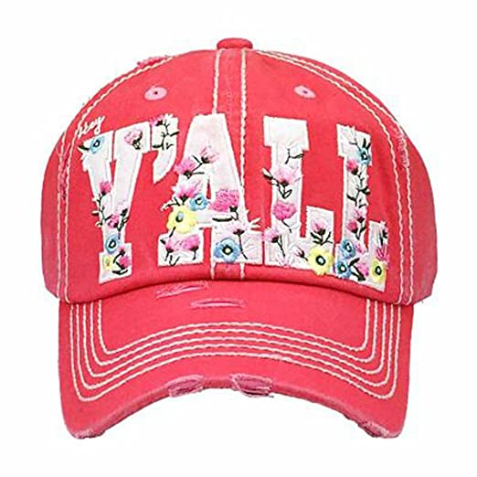 ecc5b66f422 KBETHOS Women s Hey Y all Floral Southern Vintage Baseball Hat Cap (Pink)  at Amazon Women s Clothing store