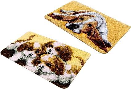 2 Set Knüpfteppich für Kinder und Erwachsene zum Selber Knüpfen Teppich,