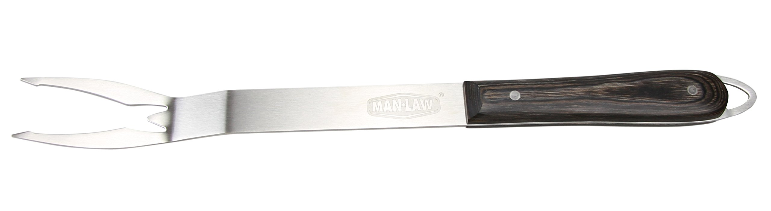 Man Law BBQ Products MAN-H1A-F H1A Series Open Stock Fork, One Size, Stainless Steel and Wood by Man Law BBQ Products