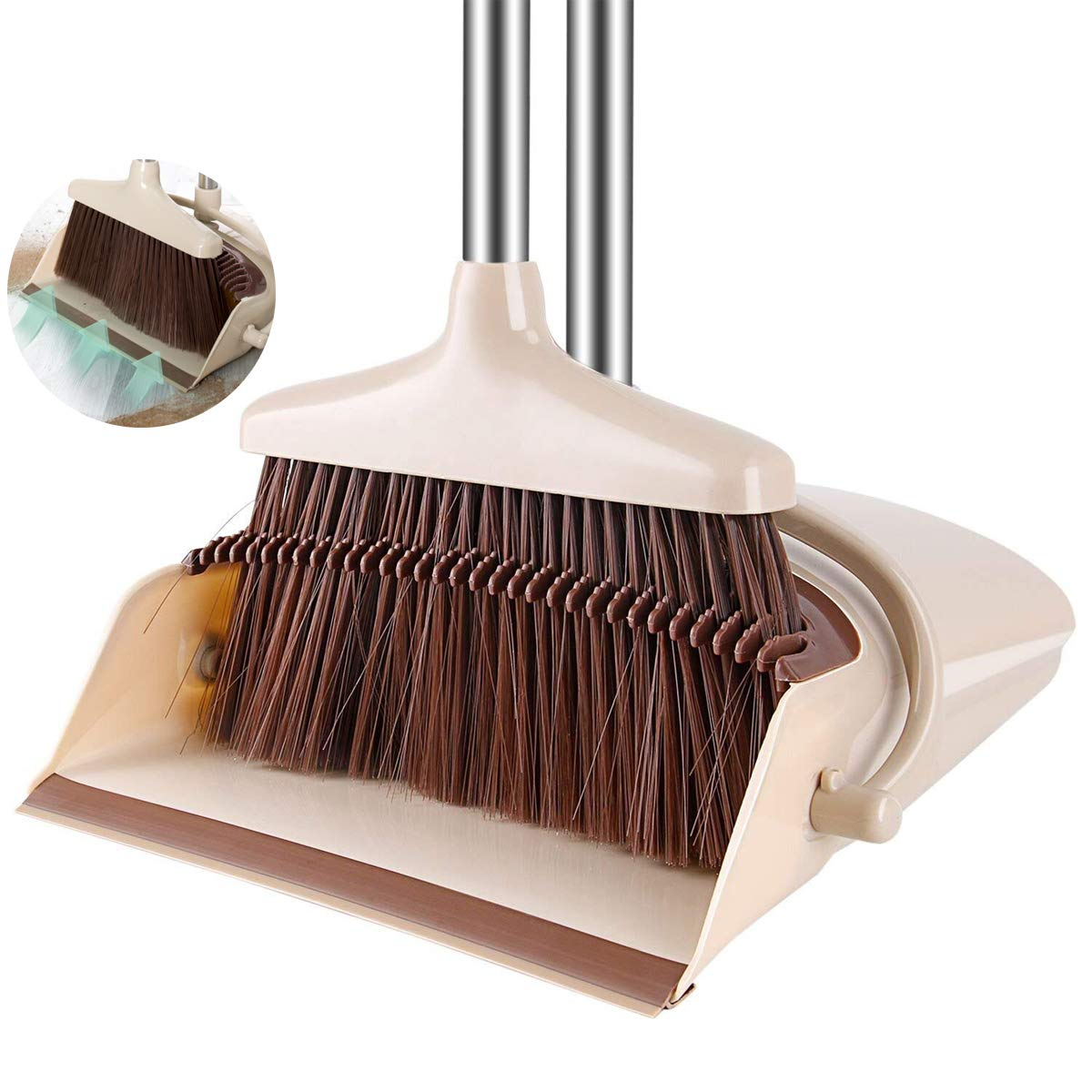 comfortableplus Broom and Dustpan Set, Broom with Dust Pan with Long Handle Combo Set for Office and Home Standing Upright Sweep