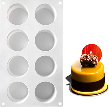 White Semi Cylindrical Silicone Gel Molds Set AICHEF Dessert Mousse Cake French Mousse Molds White Silicone Gel Molds