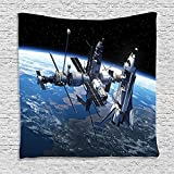 SCOCICI Supersoft Fleece Throw Blanket Outer Space Decor Space Shuttle and Station View Cosmonaut Adventure on the Myst Globe Orbit Off Blue Grey Black 59 x 59 Inches