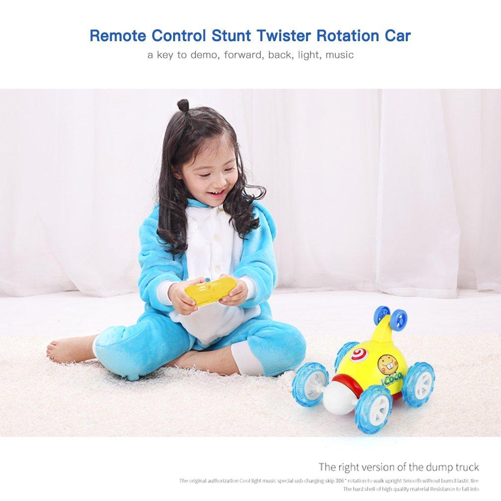 OCDAY 2 canaux t/él/écommande pour Voiture Stunt Twister 3D Rotation V/éhicule Jouet avec Musique LED Lumi/ères pour Enfants Tout-Petits