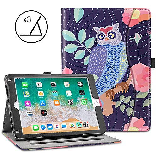 VORI iPad 9.7 Case (2018 6th Generation / 2017 5th Gen/iPad Air 2 / iPad Air), Soft Leather Smart Cover Folio Multi-Angle Viewing Case with w/Pocket, Auto Wake/Sleep for New ()