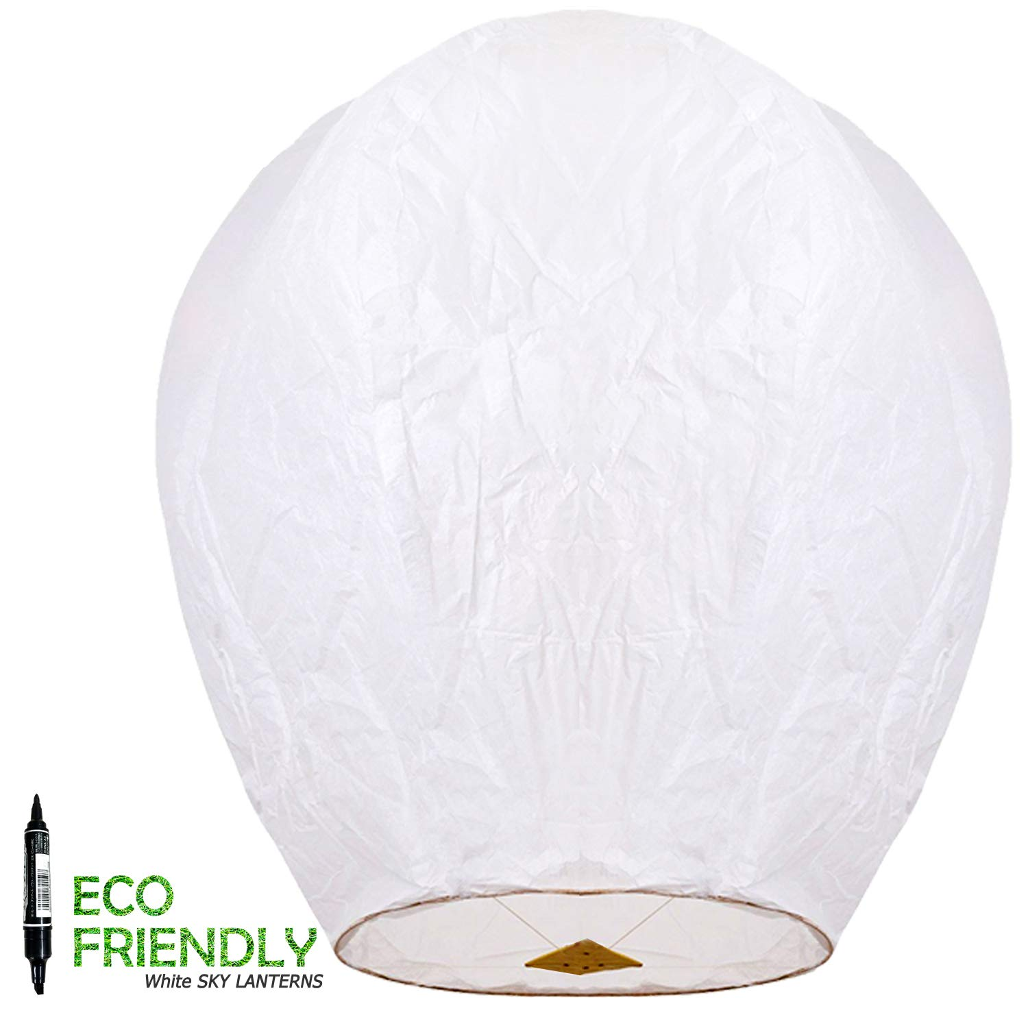 Chinese Lanterns & Sky Lanterns ECO Friendly - 100% Biodegradable - Beautiful Lantern for White for Weddings, Birthdays, Memorials and Much More (5 Pack)