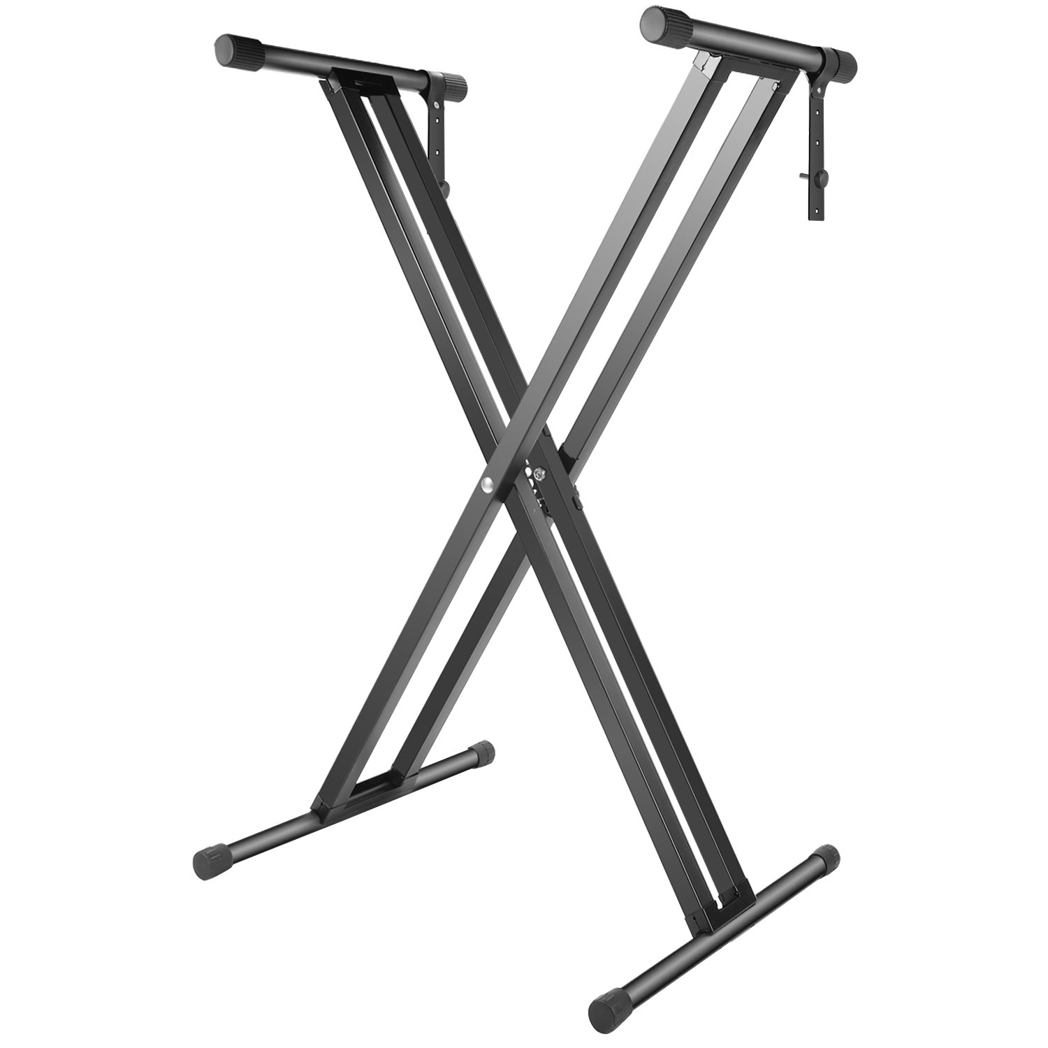 Neewer Double-Braced X Frame Piano Keyboard Stand with Locking Straps, Foldable Solid Iron Construction, 34.6 inches Adjustable Height for Most Keyboards (Black)