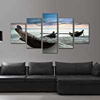 5 Piece Modern Framed Giclee Canvas Prints Sailboat Ocean Beach Pictures Wall Art for Bathroom Wall Decor Painting Ready…