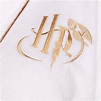Harry Potter Golden Snitch Ladies Womens White Fleece Robe Dressing Night Gown