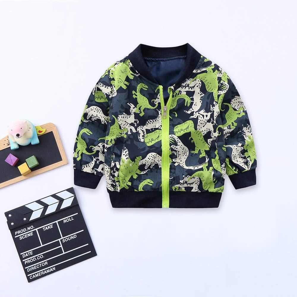 TheRang Toddler Kids Girls Boys Long Sleeve Dinosaur Print Coat Windproof Jacket Outwear