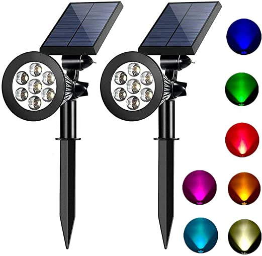 Solar spotlights outdoor 7 led multi color Solar Garden Lights for the patio law garden changing fixed color 2 pack