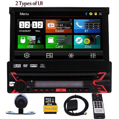 Estéreo EinCar un solo din coche con Bluetooth 7