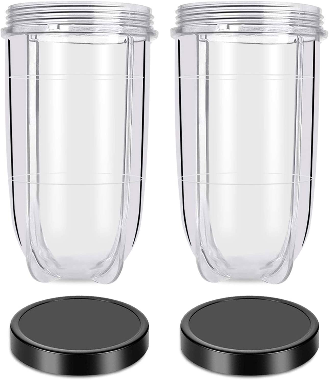 Replacement 16 Ounce Tall Jar Cups with Black Jar Lids, Blender Replacement Parts, Replacement Tall Jar Cups Compatible with Magic Bullet Blender Juicer Mixer 250W MB1001 Accessories (2 Pack)