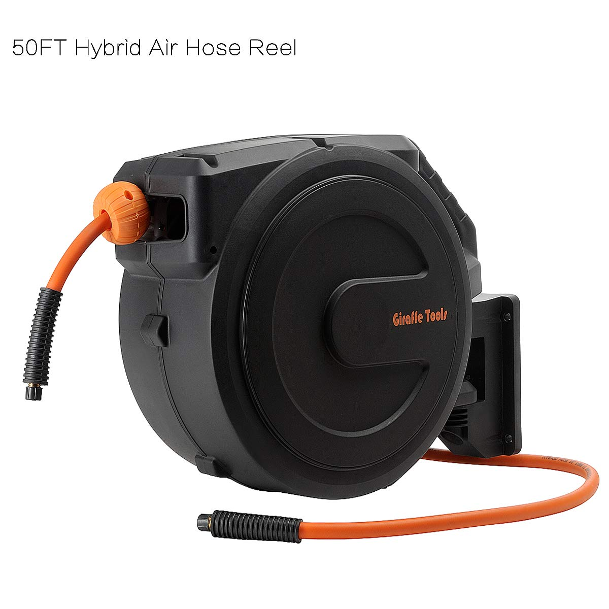 Air-Hose-Reel with 3/8 In. x 50 Ft Hybrid Air Hose,Retractable Wall Mounted,300PSI Heavy Duty-Reel by Giraffe