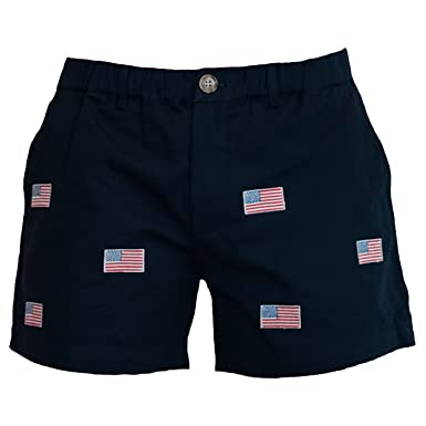 "98783c4d03 Meripex Apparel American Flag Embroidery Men's 5.5"" Inseam  Elastic-Waist Shorts (Small,"