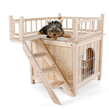 DJLOOKK Animales pequeños Jaulas Mascota Casa de Perro para Gatos Casa de Madera al Aire Libre Perro para Perros, Casa de Cachorros, con Vista: Amazon.es: ...