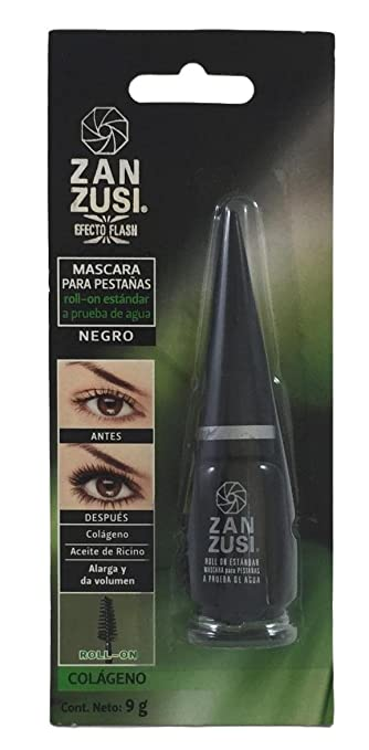 Zan Zusi Mascara, Black, Waterproof, Roll on brush, enriched with collagen and