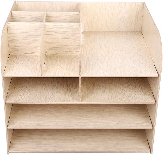 Schreibtisch-Organizer Tisch-Organizer Multifunktional Organisator Schreibtischorganizer Aufbewahrungsbox Holz Ablagesystem Schreibtisch Briefablage Aufbewahrungsregal Zeitschriftenst/änder