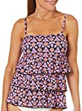 Fit 4 U Women's Fit 4U Now and Then 3 Tier Bandeau Tankini Top, Pink, 12