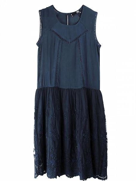 Le Temps des Cerises-vestido de tela algodón, color azul marino y adolescente niña