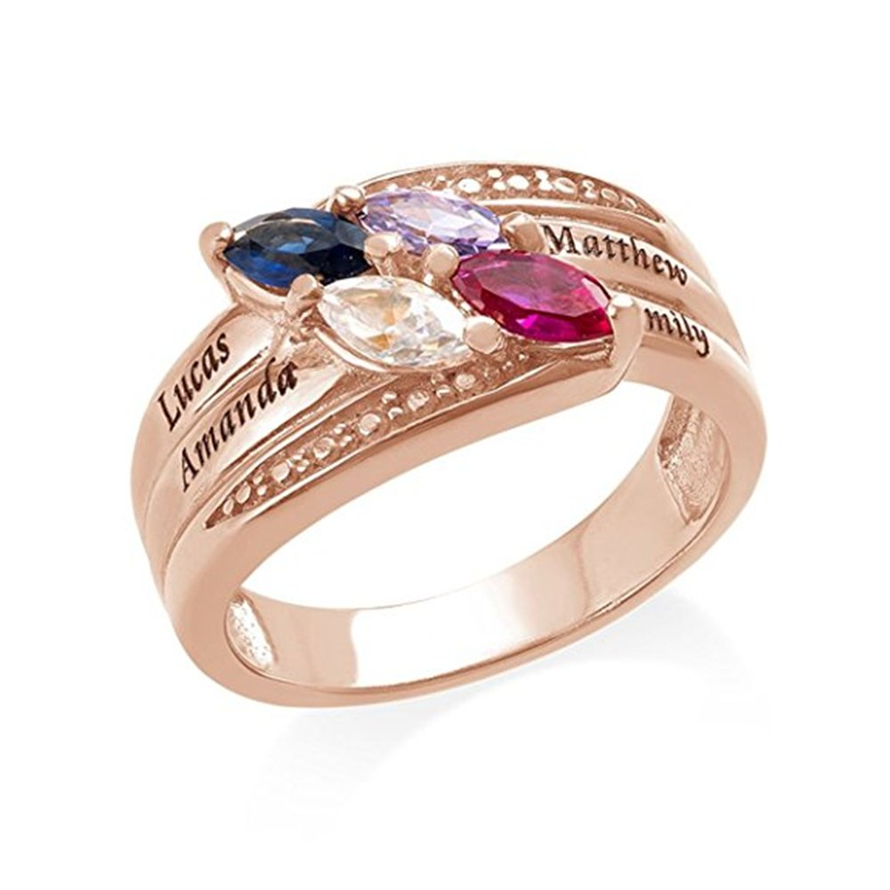 Engraved Mothers Ring & Four Stone - Custom Made Ring with Birthstones -Personalized Gift for Mother's Day(rose-gold 5) by Jumping Birthstone (Image #2)