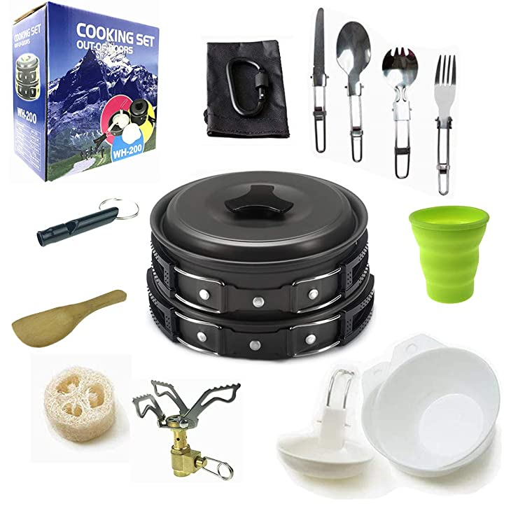 Camping Cookware Mess Kit Backpacking Gear & Hiking Outdoors Bug Out Bag Cooking Equipment 18 Piece Cookset