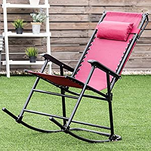 Goplus Folding Rocking Chair Portable Outdoor Rocker Porch Zero Gravity Patio Furniture W/Sunshade Canopy and Pillow (Wine)