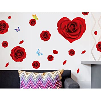 Wall Decal Red Rose Flowers Butterflies Home Sticker House Decoration WallPaper Removable Living Dinning Room Bedroom