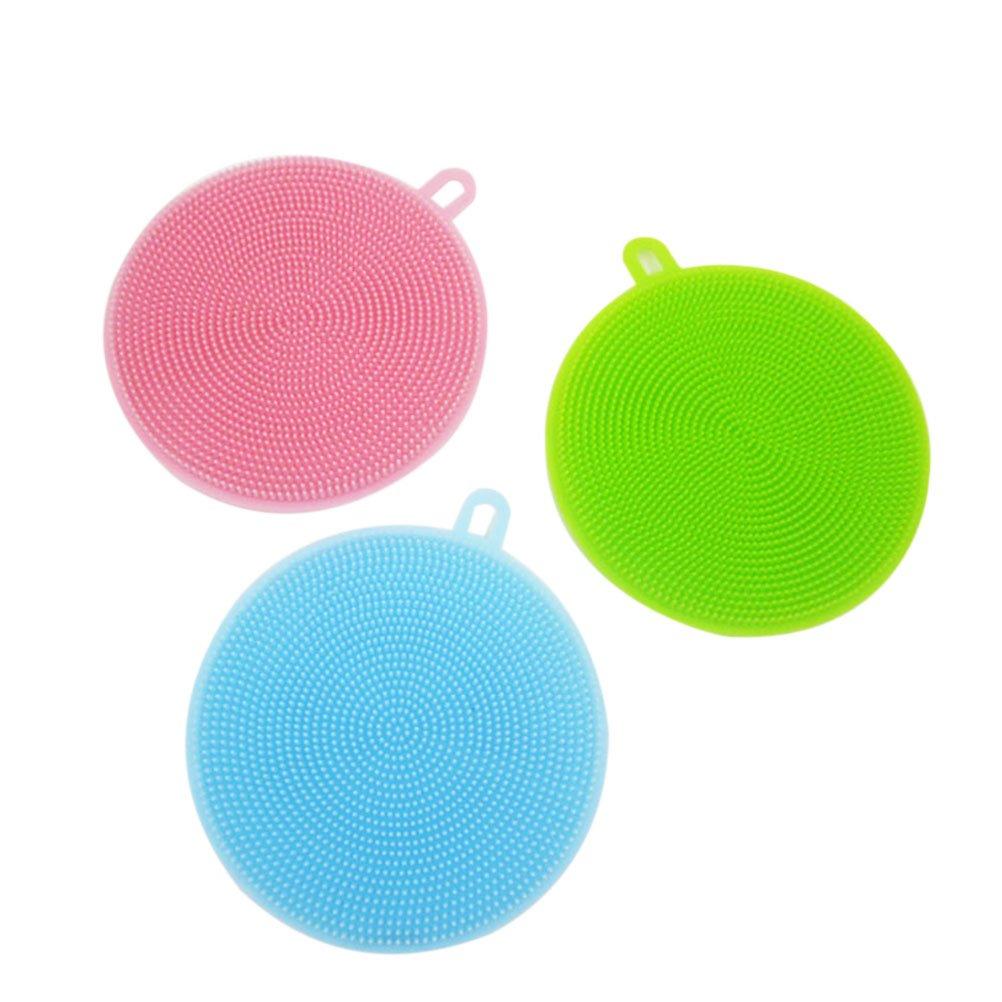 NUOLUX Spazzola di lavaggio in silicone per cucina e bagno, confezione da 3