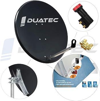 Duatec - Antena parabólica para satélite (80 cm, Doble LNB ...