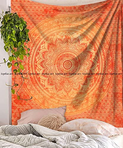 Sophia-Art Indian Mandala Hippie Tapestries Wall Hanging Unique Indian Tapestry Hippy Mandala Beautiful Handmade Bedspread Wall Decor Queen Tapestry Orange Tie Dye Ombre, 86 x 94