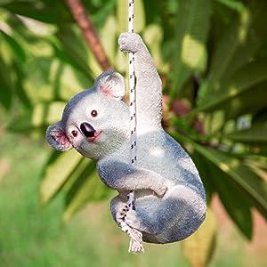 Cute Koala Bear Swing Hanging Garden Sculpture, Outdoor Resin Animal Statues, Garden Ornaments, peeker Garden Art, Patio Decorative Figurines