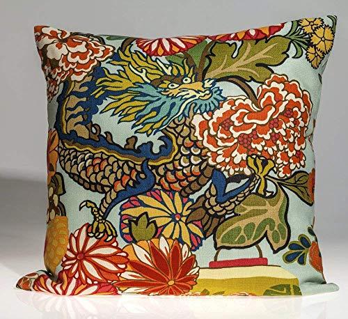 Schumacher Chiang Mai dragon pillow cover, aquamarine