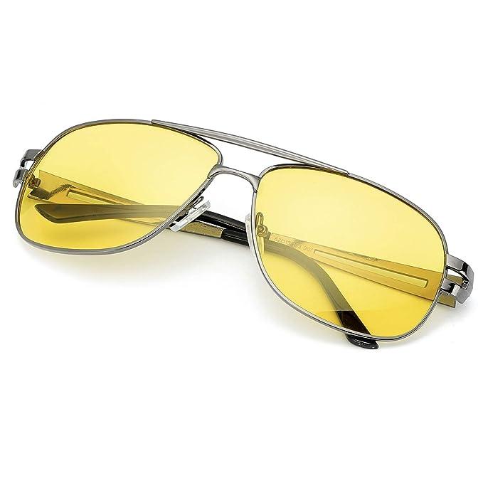 abeabe33eb Gafas De Conducción Nocturna, HD Polarizadas Anti Reflejante Gafas De,  Visión Nocturna Lente Amarilla