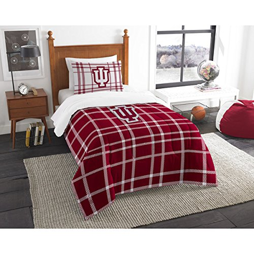 2 Piece NCAA COL Indiana Hoosiers Bloomington Twin Comforter Set, Red White, Sports Patterned Bedding, Featuring Team Logo, Indiana Merchandise, Team Spirit, College Football Themed, Polyester College Teams Merchandise