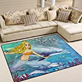 Naanle Mermaid Dolphin Area Rug 5'x7′, Ocean Animal Polyester Area Rug Mat for Living Dining Dorm Room Bedroom Home Decorative For Sale
