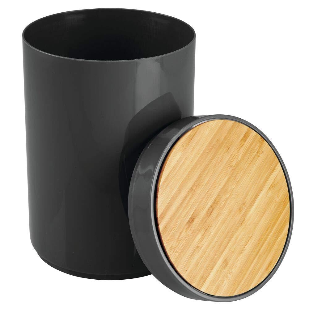poubelle design pour salle de bain couleur bambou et blanc poubelle avec couvercle en bambou et en plastique mDesign poubelle de cuisine pratique bureau et cuisine