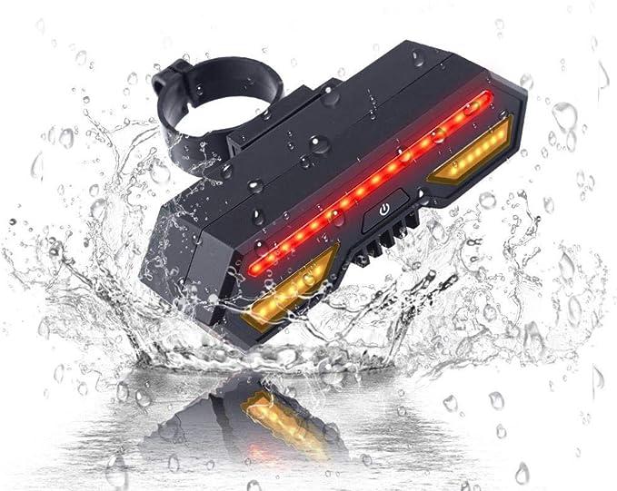 LED-Fahrtrichtungsanzeiger Wasserdichtes intelligentes Fahrradwarnlicht mit Fernbedienung f/ür Fahrsicherheit Konesky Fahrrad-R/ücklicht mit Blinkern