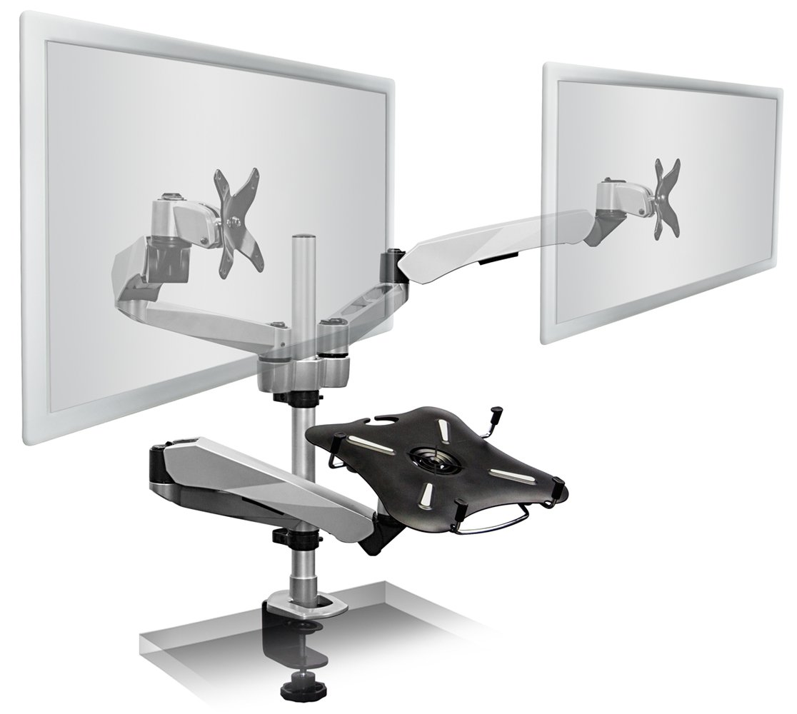 Mount-It! MI-75821 Dual Articulating, Tilting, Rotating, Swiveling Arm Desk Mounts for LCD, LED, TV, Flat Screens, and Computer Monitors Between 13 and 27 Inches with Tertiary Mount with Attached Cooling Fan Stand Supports Laptops, Tablets, and Notebooks  by Mount-It!
