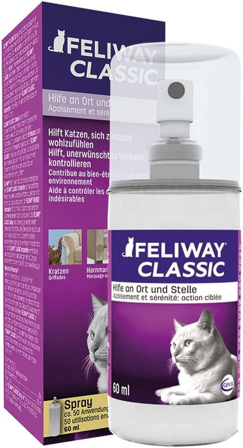 FELIWAY Classic - Antiestrés para gatos - Transportín, Viajes, Marcaje con orina localizado, Arañazos verticales localizados - Spray 60 ml