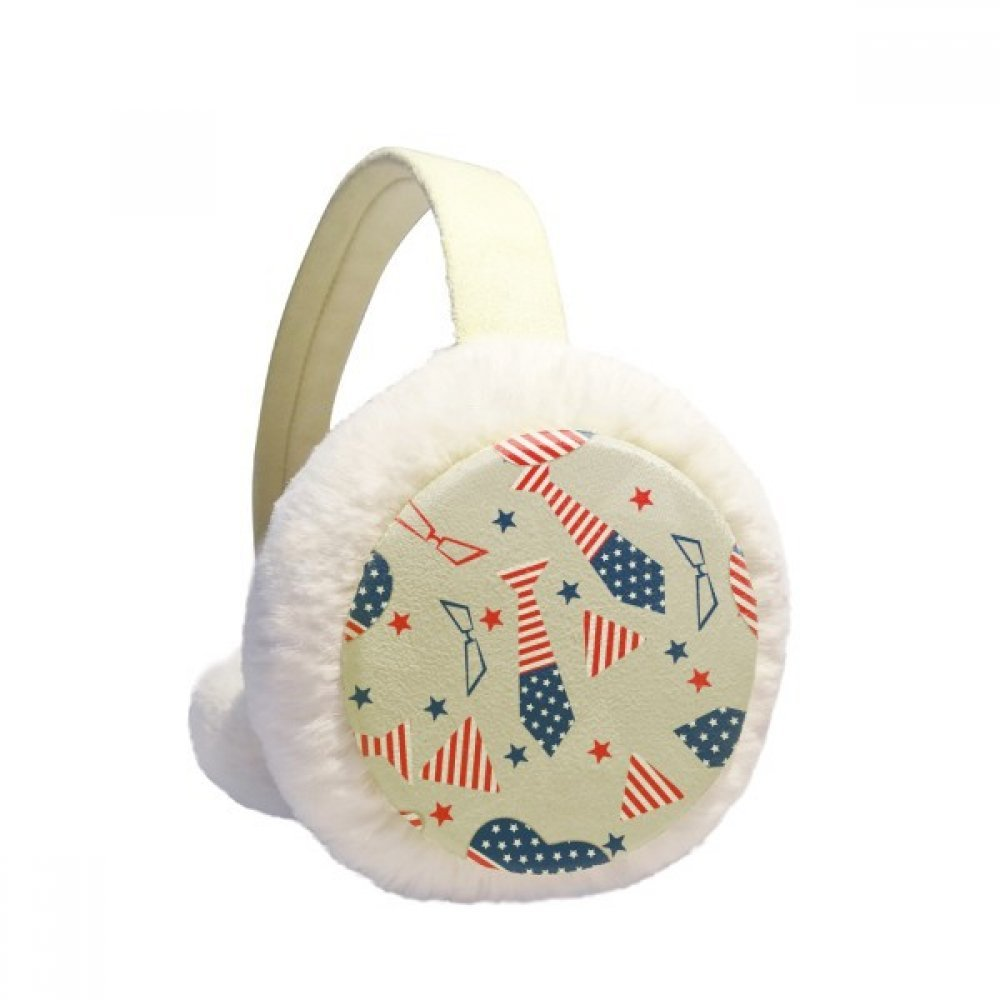 USA Flag Tie Glass Star Festival Winter Earmuffs Ear Warmers Faux Fur Foldable Plush Outdoor Gift